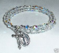 Rosary Wrap Bracelet With Czech 4mm Crystal AB Beads Small Size Handcrafted