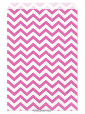 "100 Flat Merchandise Paper Bags: 6 x 9"", Pink Chevron Stripes on White"