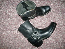 Women's Black Leather ankle Boots FRYE harness short Sz 7.5, Made in USA