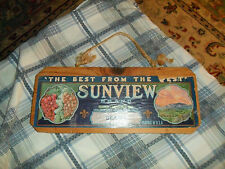 Vintage SUNVIEW BRAND GRAPES WOODEN CRATE END Wall Hanger Rustic Farm decor