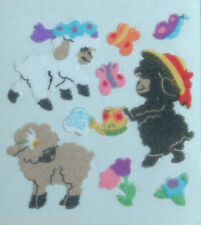3x Squares Vintage Sandylion Fuzzy Flower Sheep Lamb Butterfly Stickers