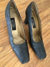 Stuart Weitzman Black Pumps Heels Leather Snake Lizard Print Sz 10 AA Gold band