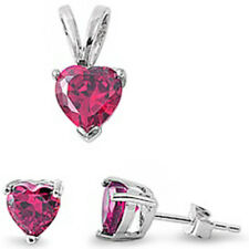 BEST SELLER GIFT! Ruby Heart .925 Sterling Silver Earrings & Pendant Set .5""