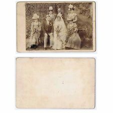 Cabinet Card Photograph Victorian Wedding Bride Groom Bridesmaids