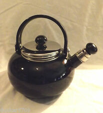 COPCO METAL WHISTLING TEA POT KETTLE 0305 ENAMEL BLACK WITH CHROME ACCENTS