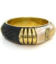 VINTAGE Style Chunky PLUS SIZE Brass & Resin TRIBAL STATEMENT BANGLE BRACELET