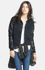 NWT $148 FREE PEOPLE Black Combo Faux Leather Sleeve Denim Jacket Sz S