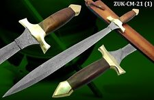 "CUSTOM HAND MADE DAMASCUS STEEL 27.95"" CELTIC SWORD/HUNTING KNIFE/DAGGER CM-21-1"