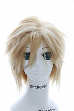 W-252 Final Fantasy Cloud blond gestuft kurz COSPLAY Perücke WIG Manga Anime