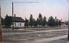 Montana Postcard LIVINGSTON Elk Horn Fence Dirt Streets Undivided Owens Bro Mont