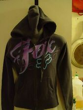 Fox zip up jacket with hood for women size S 100% cotton gray with logo on front