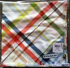 "NWT Coach Heritage Stripe Tattersall 44"" square 100% Modal scarf  MSRP $128"