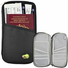 ZIPPED AIRPORT TRAVEL PASSPORT MONEY CARD DOCUMENT HOLDER ORGANIZER WALLET BAG