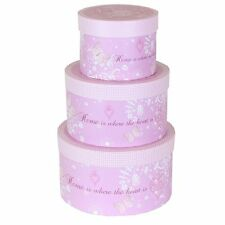 Pretty Pink Decorative Set of 3 Round Storage Boxes with Lids