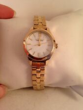Caravelle by Bulova Ladies MOP Gold Tone Bracelet Quartz Watch 44L155-H4