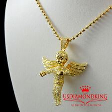 MICRO PAVE STERLING SILVER ANGEL CHARM PENDANT CHAIN SET 14K YELLOW GOLD FINISH