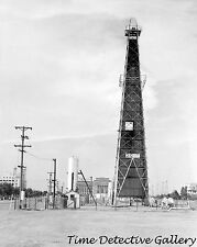 Oil Well & Capitol Bldg., Oklahoma City, Oklahoma - 1938 - Historic Photo Print