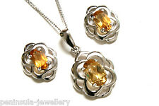 Sterling Silver Citrine Pendant and Earring Set Made in UK Gift Boxed