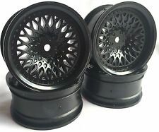 Rc Car 1/10 Drift FM Spoke Rim Wheel 6mm Offset fit Tamiya HPI 12mm hex BLACK 4