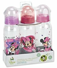 Disney's Minnie Mouse Deluxe Baby Bottles 3 Pack NEW 0M+ Bottle Set