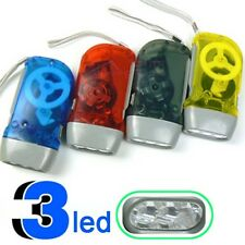 Mini Crank Hand Press Emergency Rechargeable LED Flashlight Torch