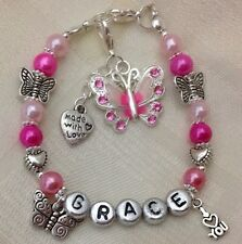 *Hand Crafted - Personalised Childrens Butterfly Birthday Named Bracelet**