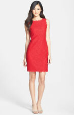 ADRIANNA PAPELL RED BOATNECK LACE OVERLAY SHEATH DRESS sz 12