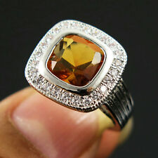 Jewelry Size 7 Halo Champagne Topaz 18K Gold Filled Anniversary Ring For Men's
