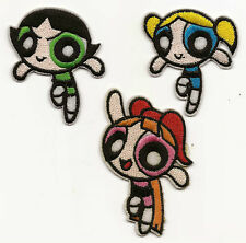 3x Powerpuff Girls Iron-on Patches Blossom, Bubbles & Buttercup Good Luck Charm