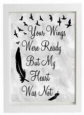 """Vinyl Sticker Fits 10"""" x 8"""" Frame - Your Wings Were Ready But My Heart Was Not"""