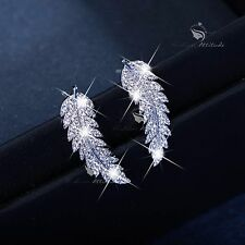 18k white gold gf made with SWAROVSKI crystal leaves feather stud earrings 925