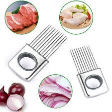 Edelstahl Zwiebelhalter Slicer Gemüse Werkzeuge Tomatenschneider Küchenhelfer