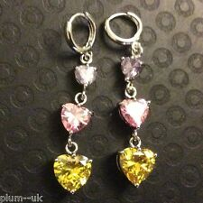 T38 Citrine, amethyst, pink sapphire, white gold gf drop dangle earrings BOXED