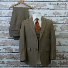 Vtg Brooks Brothers 3 pc Tweed Suit sz 40 36-38 Fit Brown Green Windowpane