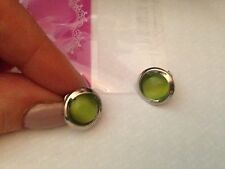 Sterling Silver plated , new  Button Earrings Jade,  Green