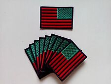 "10 Reverse RASTA USA Flag Embroidered Patches 3.5""x2.25"""