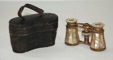 Beautiful Antique Mother Of Pearl Brass Opera Glasses Binoculars w/ Leather Case