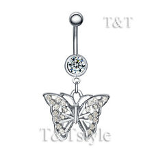 TTstyle Multi Crystal Butterfly Dangle Belly Button Ring Choose Colour
