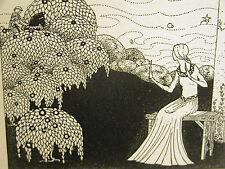 Virginia Frances Sterrett GIRL sees MAN on HORSEBACK iN FOREST 1920 Print Matted
