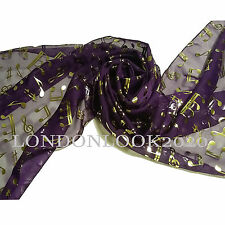 Women Ladies Gold Foil Music Note Neck Scarves Shawl Wrap Lovely Colour Purple