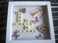 "8x8"" Personalised Scrabble Word Art Picture Frame - Choose Own Names"