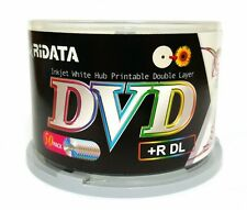 50 RIDATA 8X Blank DVD+R DL Dual Double Layer 8.5GB White Inkjet Printable Disc