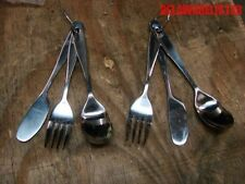 Lot of 2 Sets Camping Eating Stainless Steel 3 pc Chow Silverware Utensil w/Ring