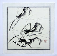 "Chinese abstract painting ink shrimp 16x16"" flowers oriental Asian brush art"