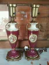 VICTORIAN PAIR OF TRUE VINTAGE PORCELAIN TABLE LAMPS ARTISTIC LAMP MFG.CO NYC
