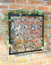 60cm Tree of Life Metal Square Wall Art Garden Steel Frame Bronze Floral