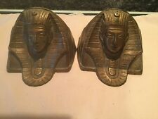 Vintage Solid Bronze Egypt Pharaoh Bookends