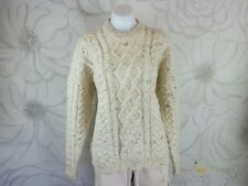 Carraig Donn Womens L Beige 100% Merino Wool Pull Over Sweater Chunky Cable Knit