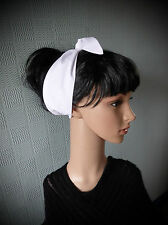White rockabilly hair scarf, retro fifties headband, fifties hair scarf, bandana