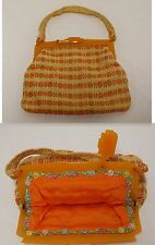 Vtg 1930's Amber BUTTERSCOTCH BAKELITE Hinged Purse Frame Clasp Woven Purse